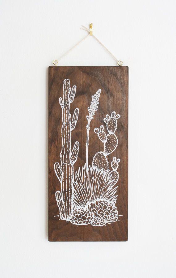 Southwest Cactus Wood Wall Art Screen Print On Wood Cacti Agave