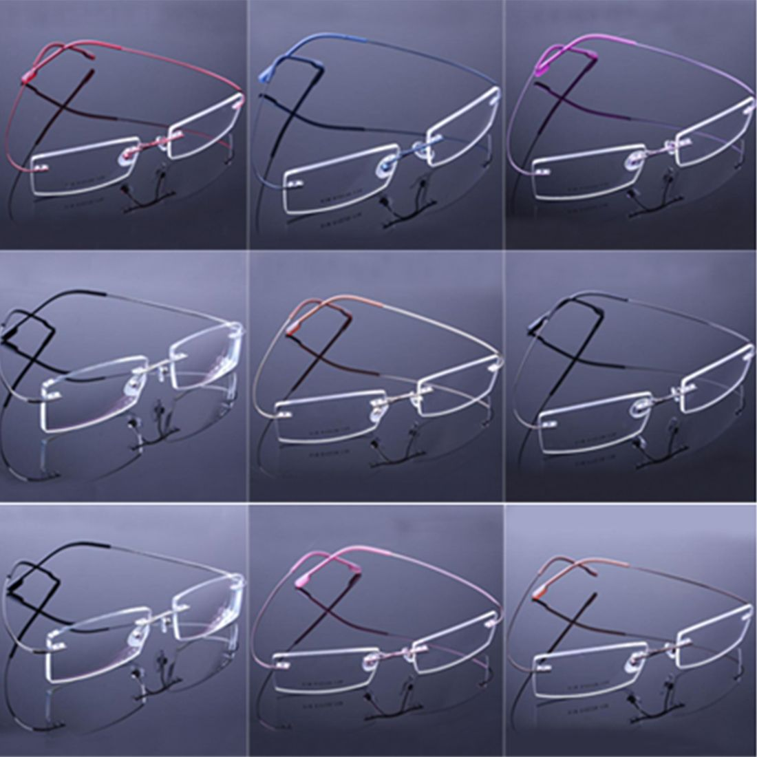 4a2eb7c5fa 9 colors Simple rimless glasses frames fashion memory titanium eyeglasses  frames prescription optical frames