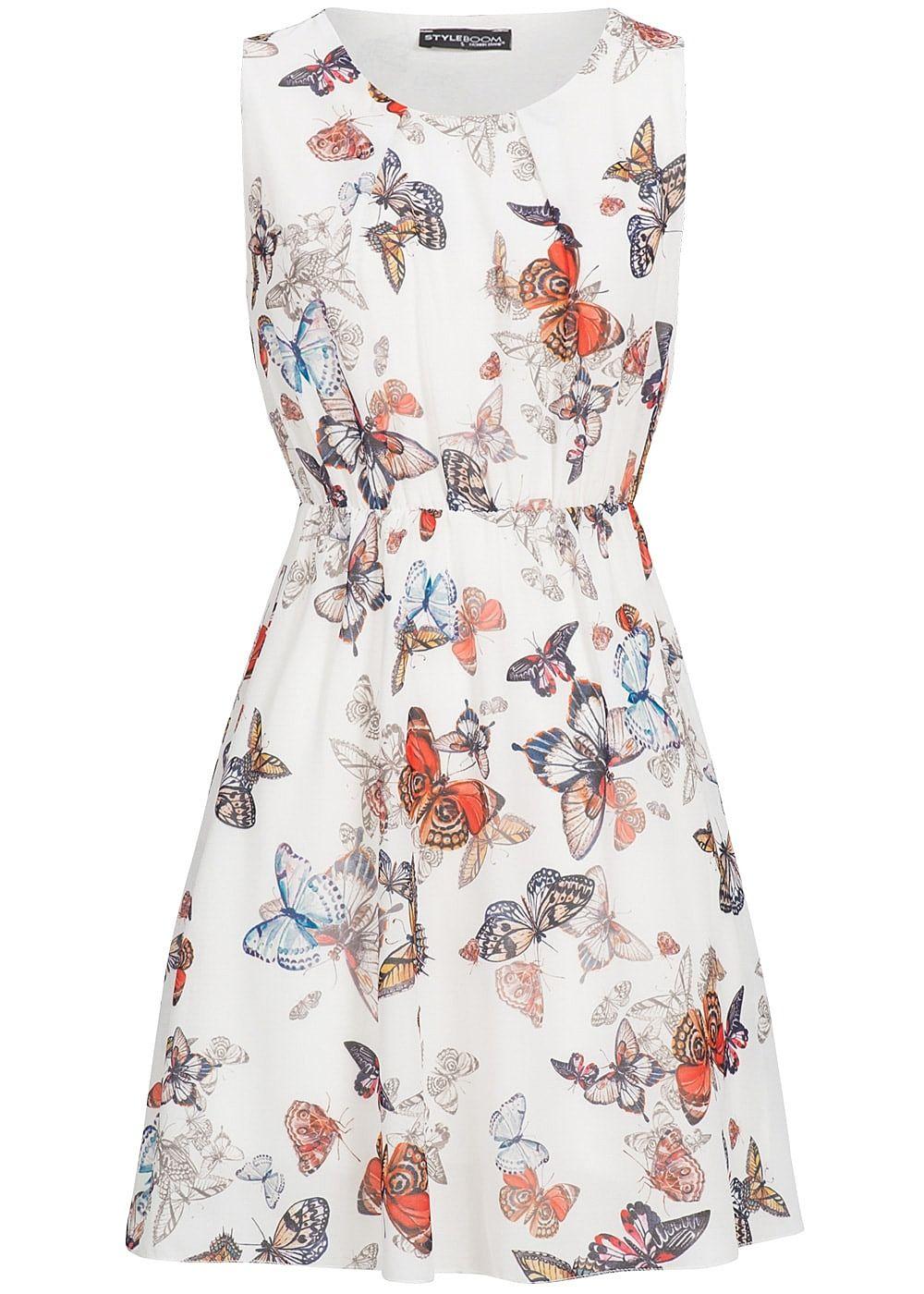 Styleboom Fashion Damen Mini Kleid Gummizug Schmetterling Muster