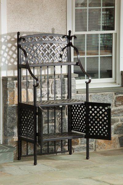 Alfresco Home Cast Aluminum Weave Outdoor Bakers Rack Modern