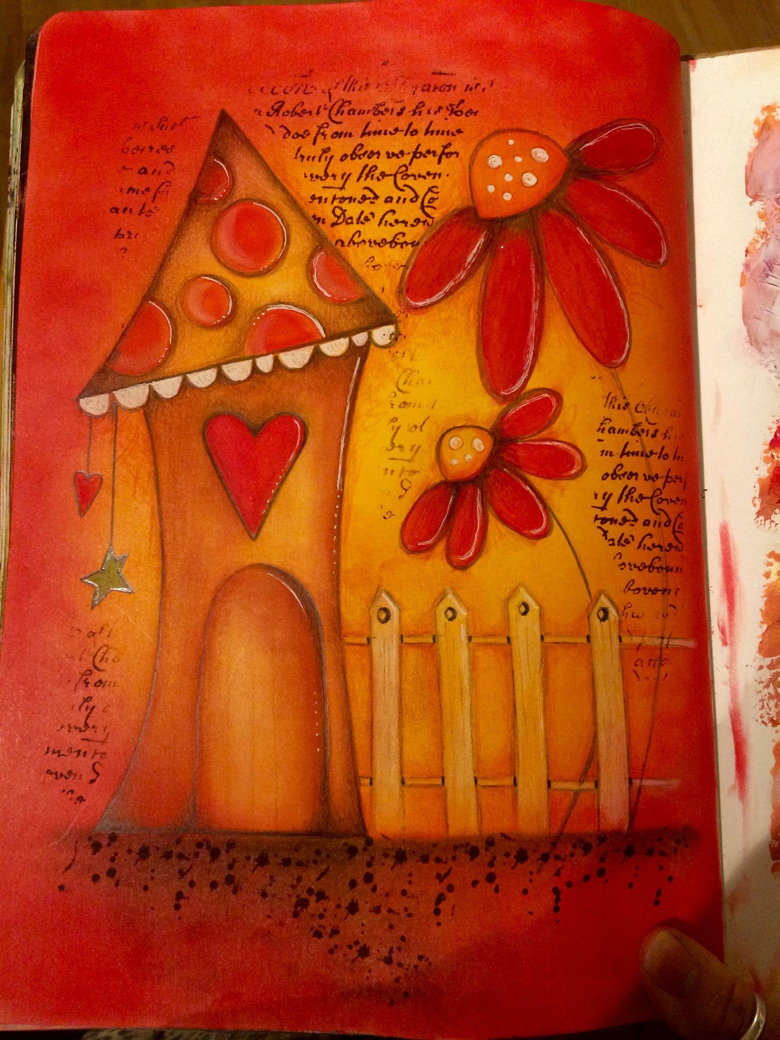 Pan pastel art journal page