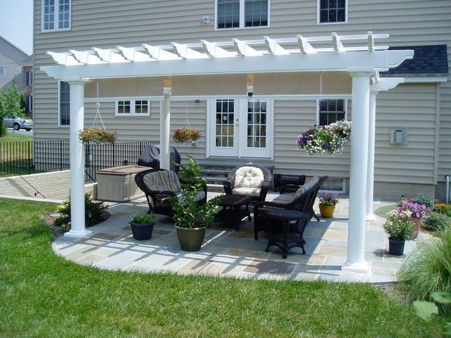 Modern Backyard Designs With Outdoor Patio And White Pergola