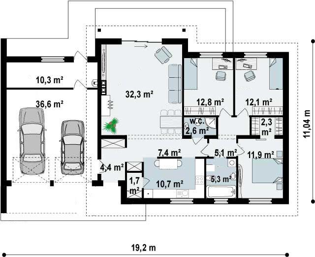 Plano de casa moderna de 1 piso con 3 dormitorios 2 for Plano casa moderna 3 habitaciones