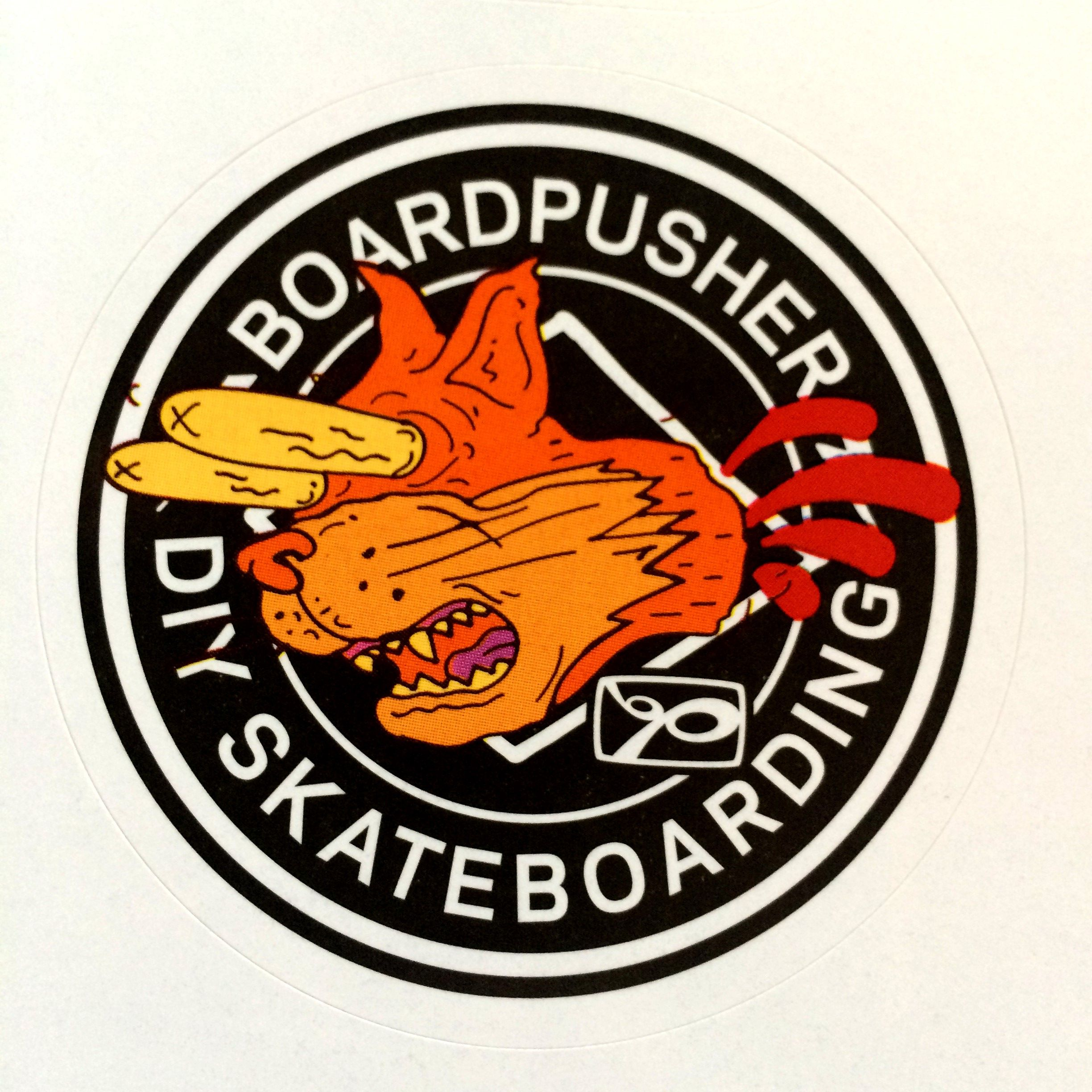 Go pick up the latest thrasher magazine and get this exclusive www boardpusher com custom skateboards sticker