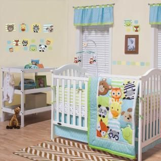 The Hide & Seek features playful zoo animals peeking out from the color patches. A mix of graphic prints in a neutral color way of aqua, light green, yellow tan, gray and orange will create a darling nursery for your sweet baby.