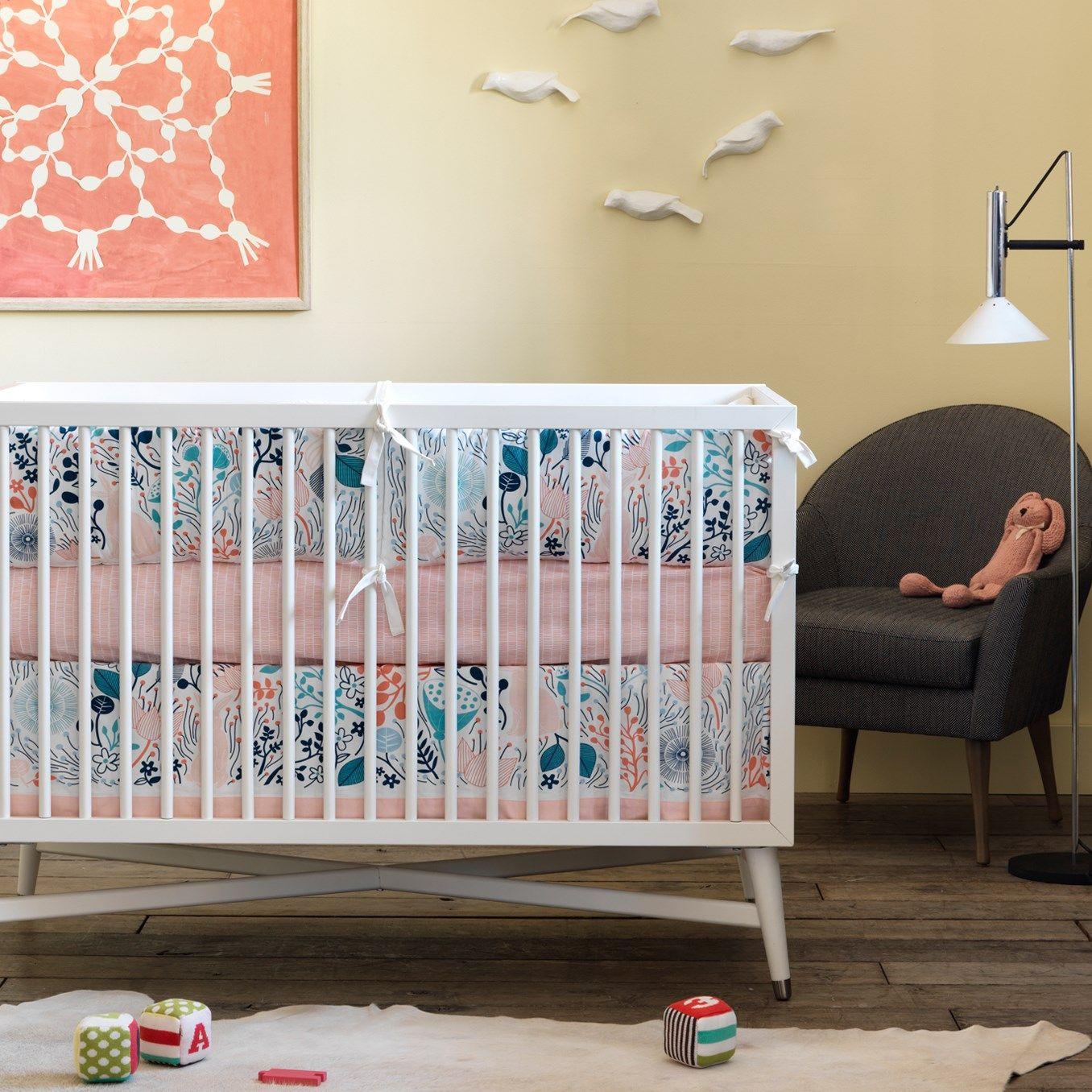 Lovely DwellStudio Crib Skirt Canvas Meadow Powder Blue