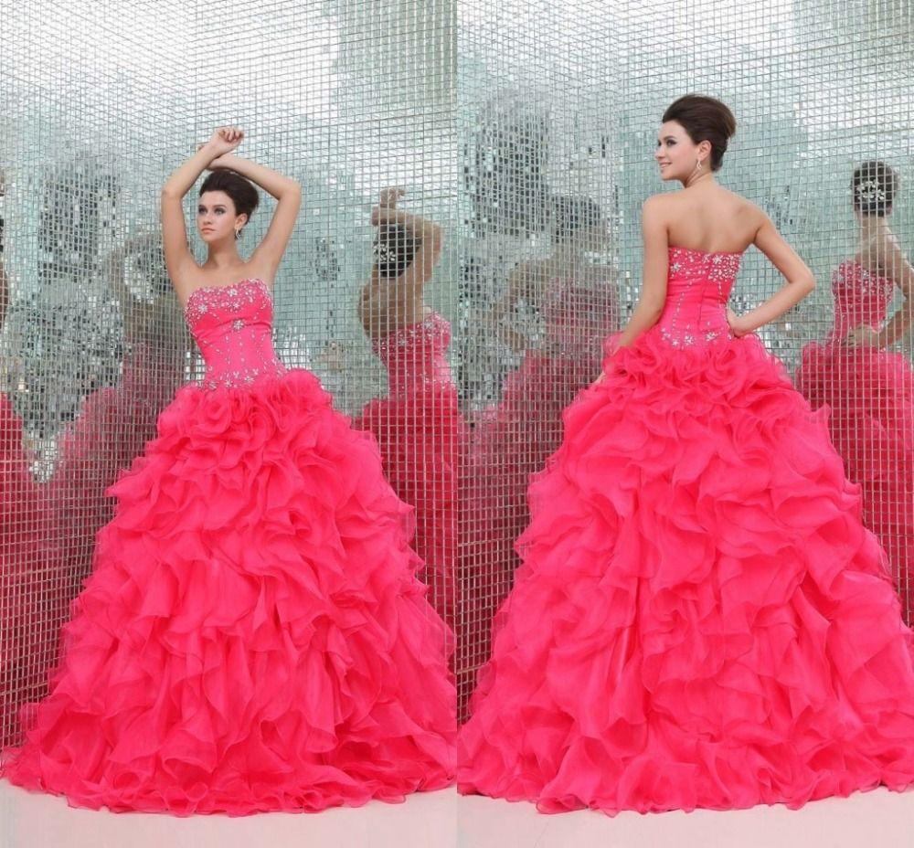 3a775c44b vestido rosa neon de quinceañera