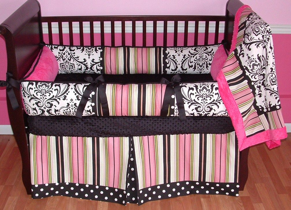 amazing Pink Minky Crib Bedding Part - 10: Kate Pink Baby Bedding This is a modern custom 3 pc crib bedding set. It  includes a black and white damask, polka dot, stripe, and soft hot pink  minky ...