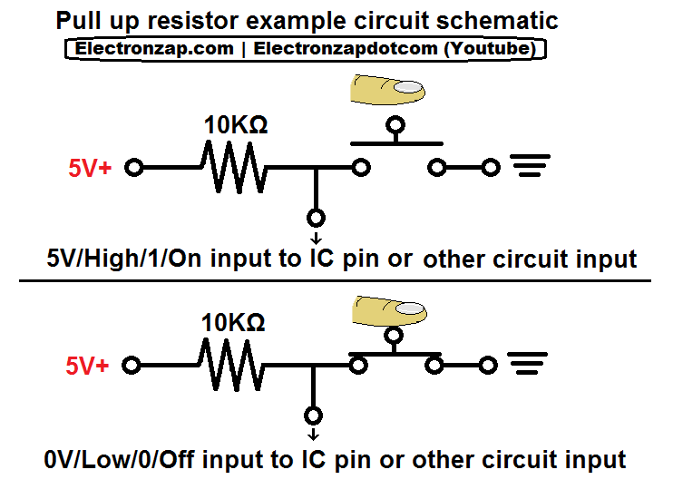 Electronics circuit pull up resistor in schematic form | Electronics ...