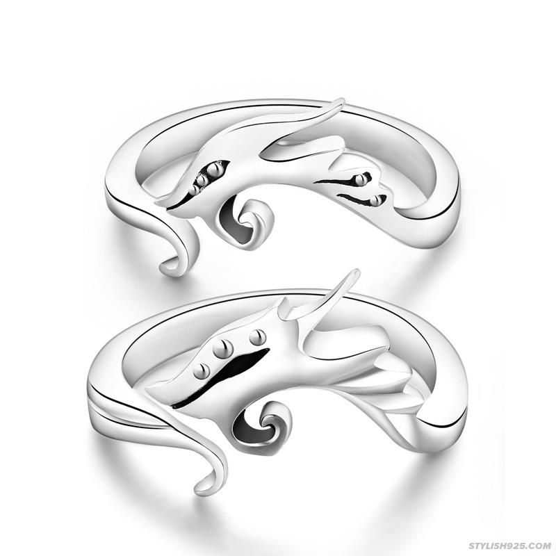 Dragon and Phoenix Couple Sterling Silver Ring | Handmade silver ...