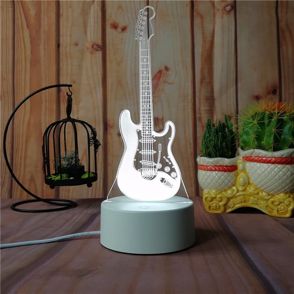 3d Guitar Night Light Plug Led Stereo Bedroom Bedside Lamp Christmas Lights Led Night Lamp Night Light