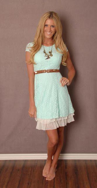 12ab4f4f45 Mint lace dress with slip to make longer Mint Dress Lace, White Boho Dress,
