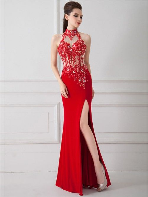 b5332949d22 Chic Sheath-Column High Neck Floor Length Chiiffon Red Open Back Cocktail  Dress with Appliques and Crystals sexy and pretty!