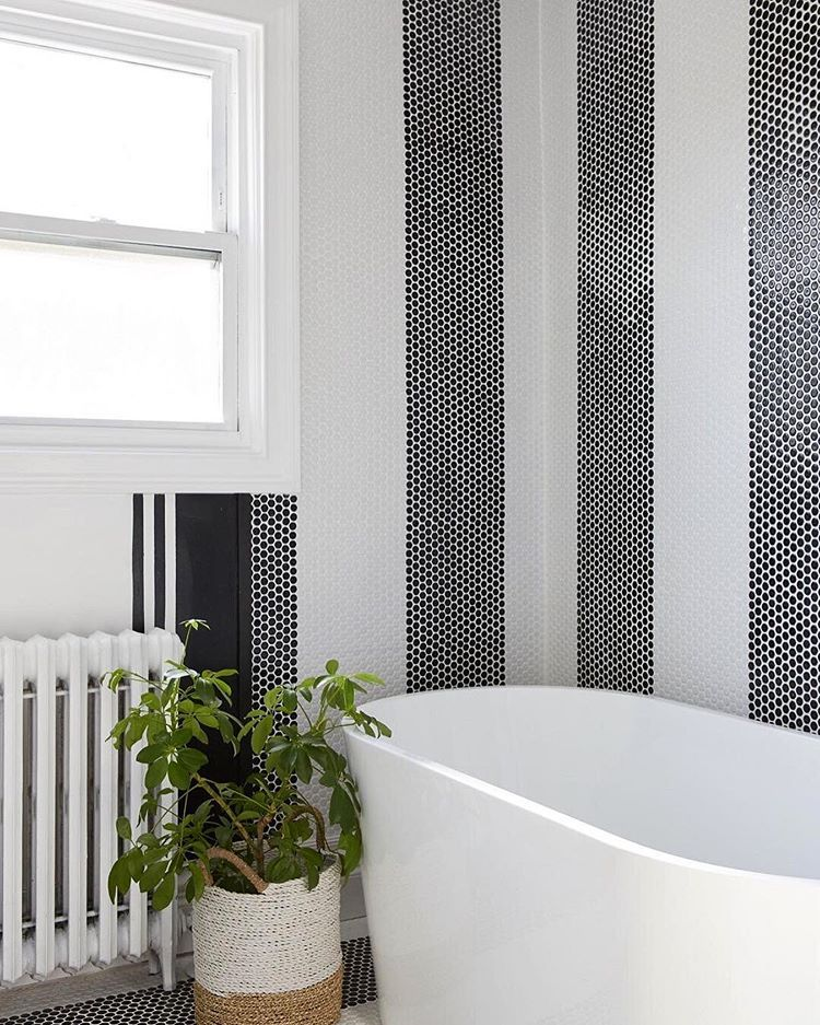 Striped Penny Tile Running Up The Walls And Floors Designed By Leannefordinteriors G Bathroom Wall Tile Design Bathroom Tile Designs Small Bathroom Tiles