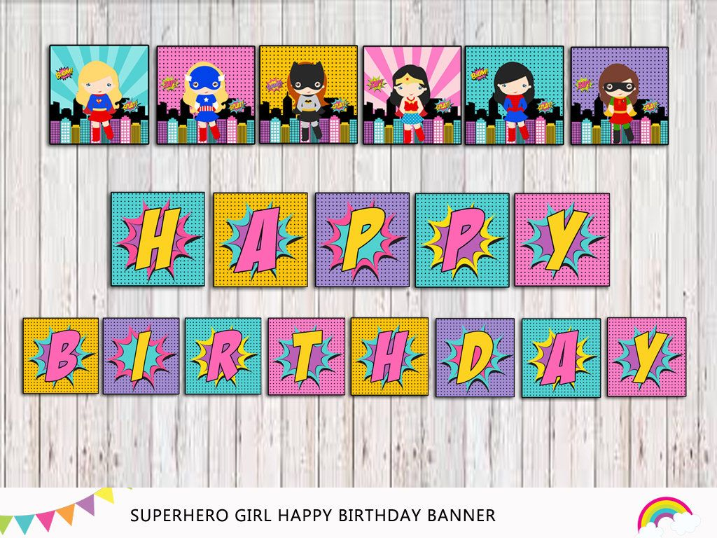 Superhero Birthday Banner Printable By RainbowSweetStudio On Etsy Hero Girl Party