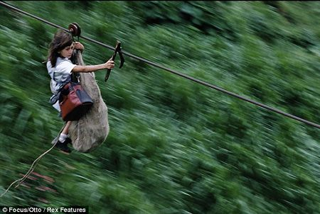 The ultimate school run: Children ride 40mph ZIP WIRE a quarter of a ...