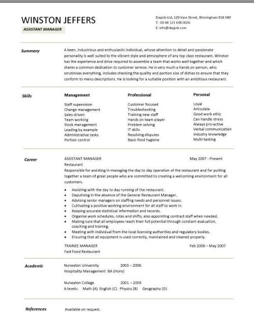 Restaurant assistant manager resume templates, CV, Example, job