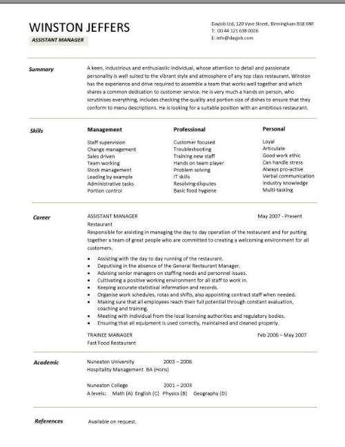 restaurant assistant manager sample resume