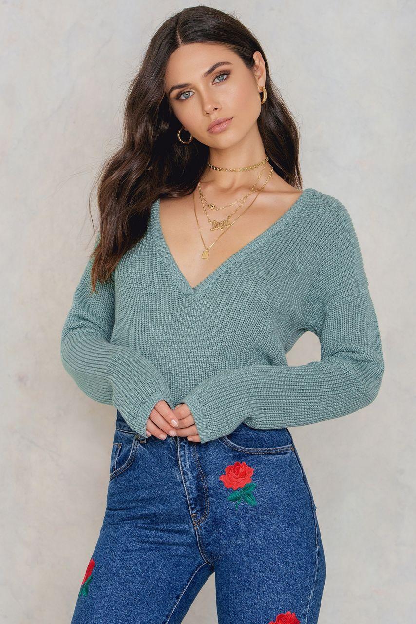 e954464315b Deep V Neck Sweater Duck Green