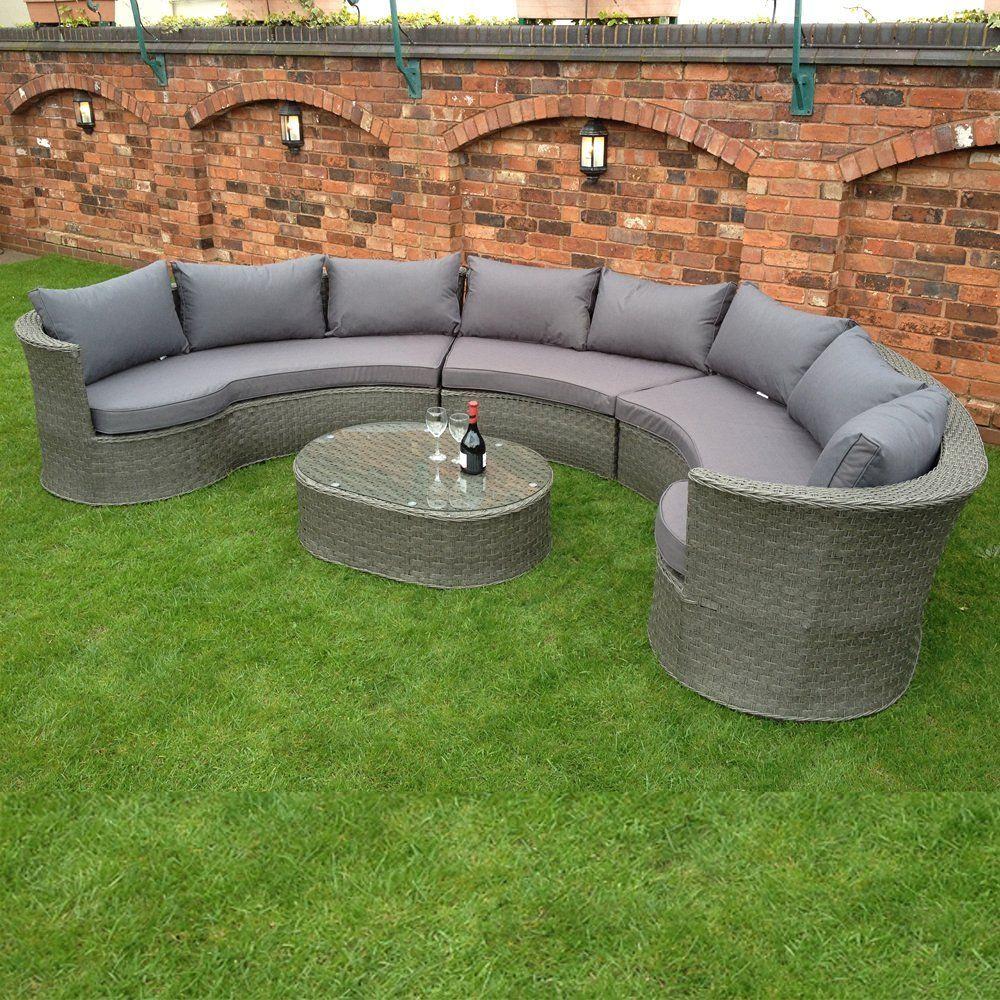 Garden Furniture Sofa Sets hgg rattan corner grey sofa set - 8 seater rattan garden furniture
