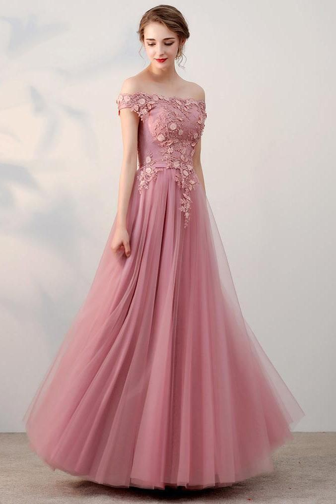 Chic A-Line Off-the-Shoulder Pink Appliques Lace-up Tulle Modest ...