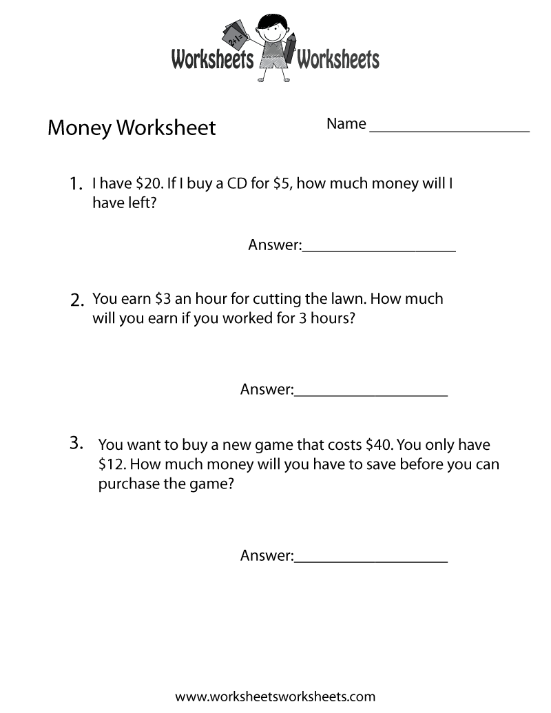 worksheetsworksheets.com   Money word problems [ 1035 x 800 Pixel ]