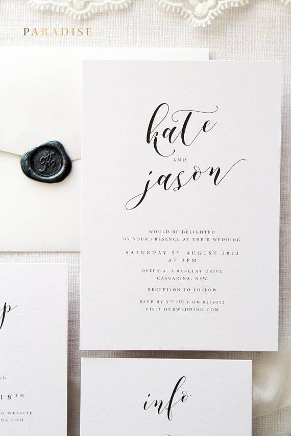 Photo of Janessa Silberhochzeitseinladungssets, Monogrammkranzeinladung, Einladungen zum Ausdrucken oder Gedrucken, Elegante Einladungen, Silberwachsstempel
