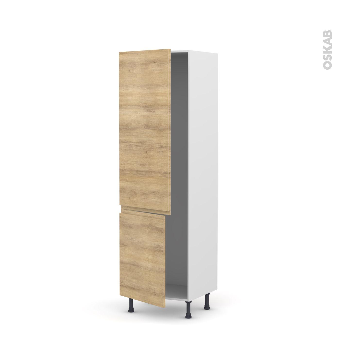 colonne de cuisine n°2721 armoire frigo encastrable ipoma chêne