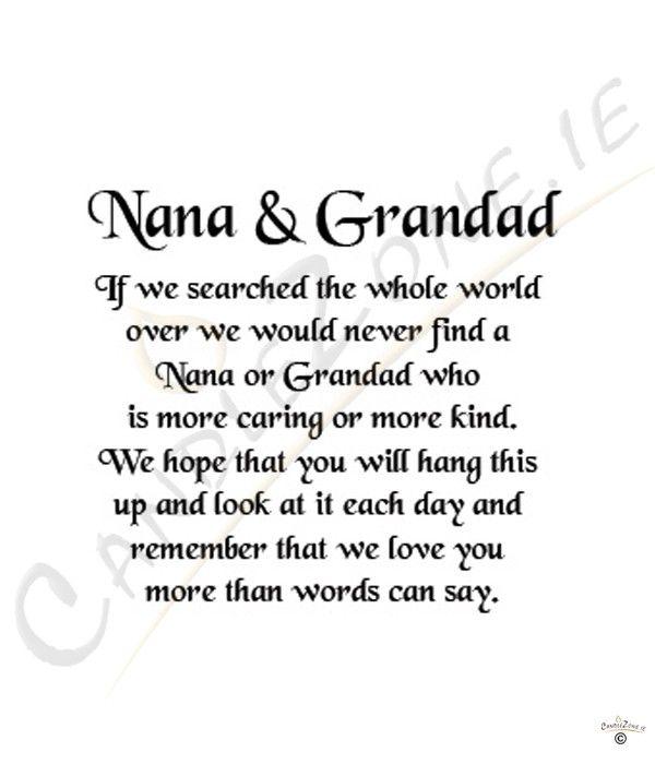 Nana Sayings Verses | Nana and Grandad 8x6 Verse Photo Frame ...