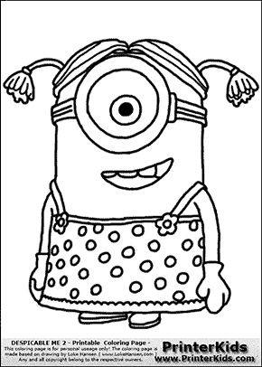 Despicable Me 2 Minion 2 Dress And Ponytails Coloring Page