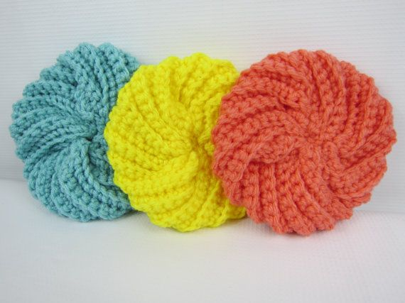 This Listing Is For 40 Crochet 40% Acrylic Kitchen Spiral Scrubby Unique Crochet Spiral Scrubbies Pattern