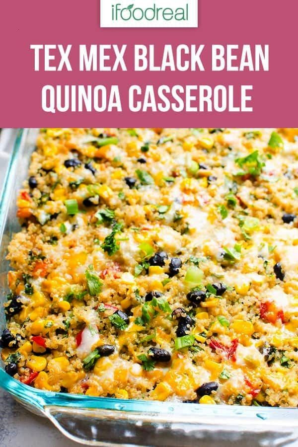 Mexican Black Bean Quinoa Casserole Recipe with corn, cheese and layers upon layers of flavours. Re