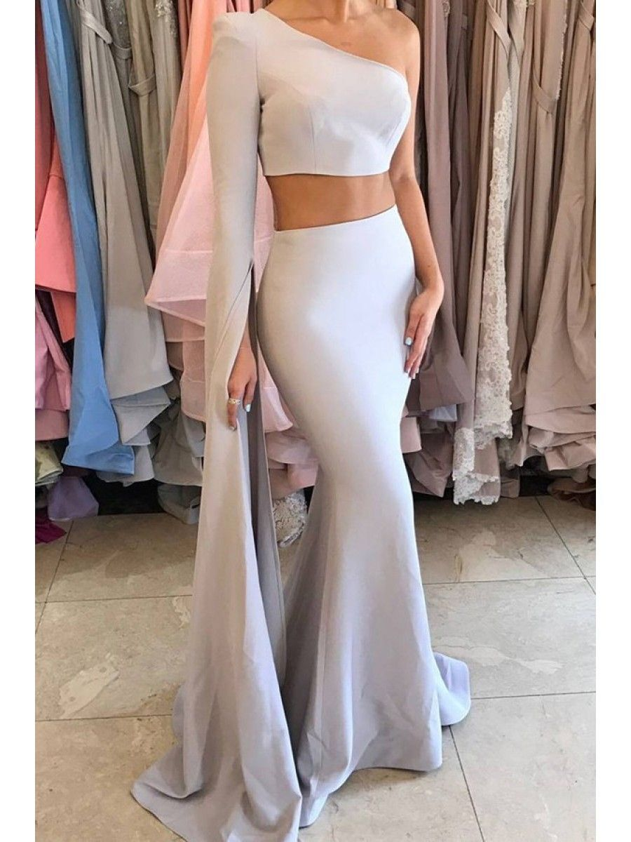Two pieces one sleeve mermaid long prom dresses party evening gowns