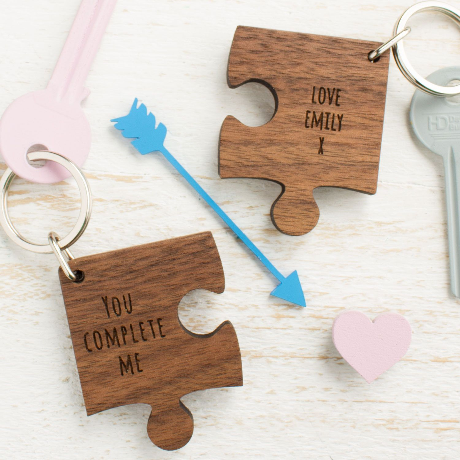 Personalised wooden gift missing piece jigsaw keyring | unique ...