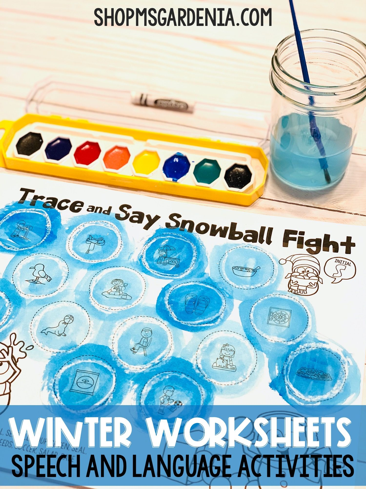 Trace And Say Worksheets Snowman Themed Activity For
