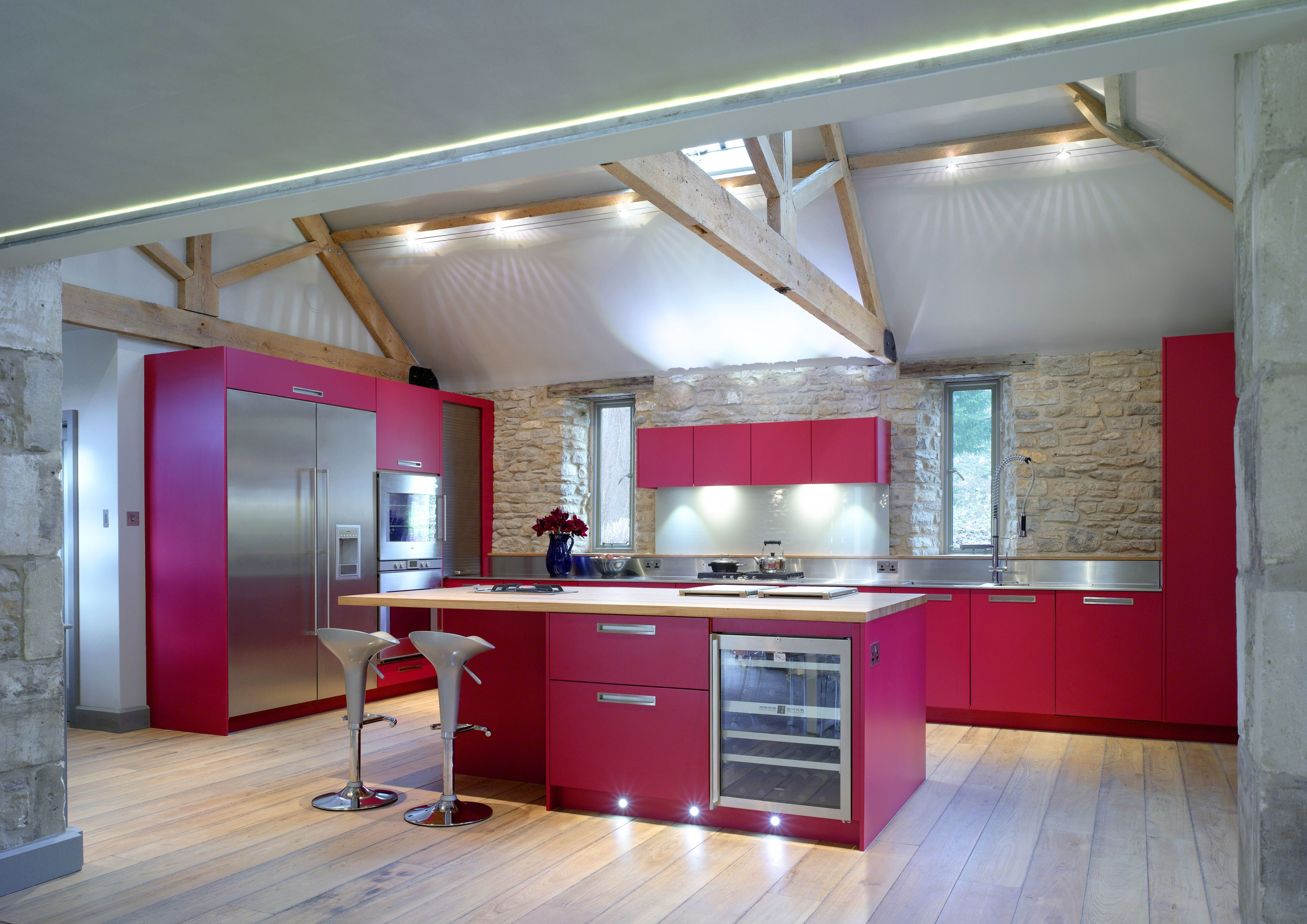 This Bold Roundhouse Kitchen In Deep Cerise Is Ideal For The Busy