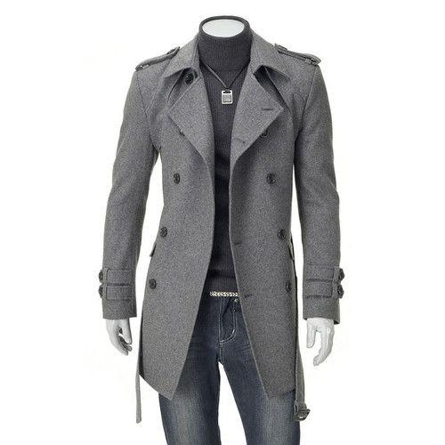 【sm2010】New Mens Trench Wool Jacket 1-22 | eBay