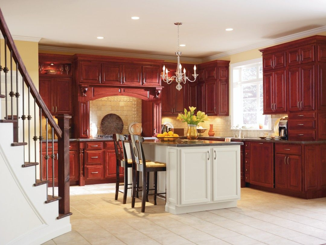 Fall In Love With Schrock Cabinetry S Warm Cranberry Finish The Contrasting Dover Kitchen Cabinet Styles Custom Kitchen Cabinets Kitchen Cabinets In Bathroom