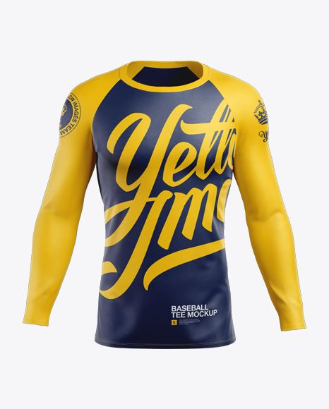 Download Men S Baseball T Shirt With Long Sleeves Mockup Front View In Apparel Mockups On Yellow Images Object Mockups Shirt Mockup Clothing Mockup Baseball Tshirts