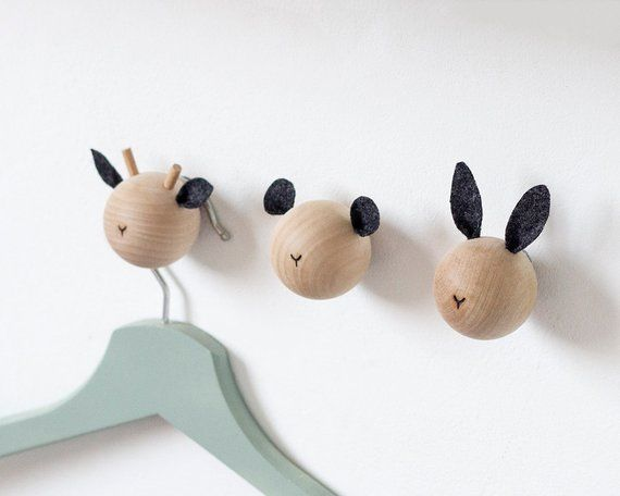 Wall Hooks For Kids Animal Woodland