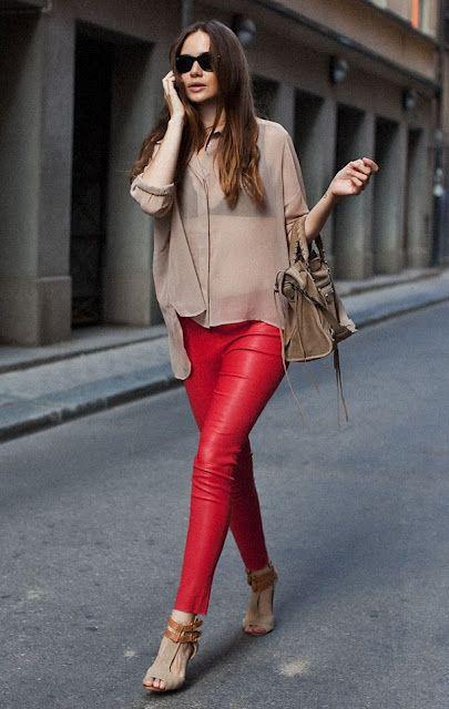 Look Pantalones Rojos Ii Pantalones De Cuero Rojos Pantalon Rojo Mujer Pantalones Rojos