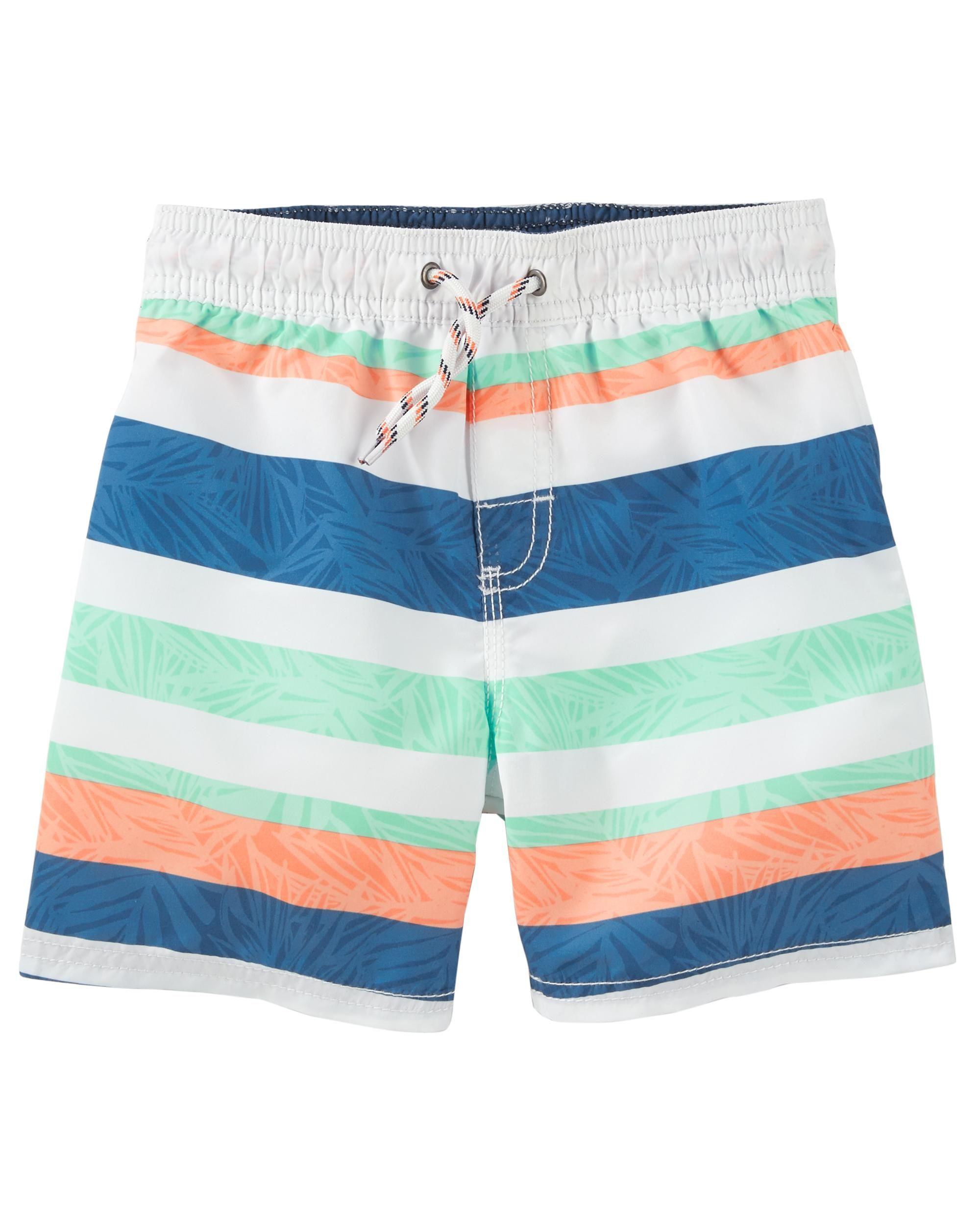 3dc36d92e3 Featuring multi-colored stripes, these trunks make for a winning look when  paired with a cool rashguard and matching flip flops!