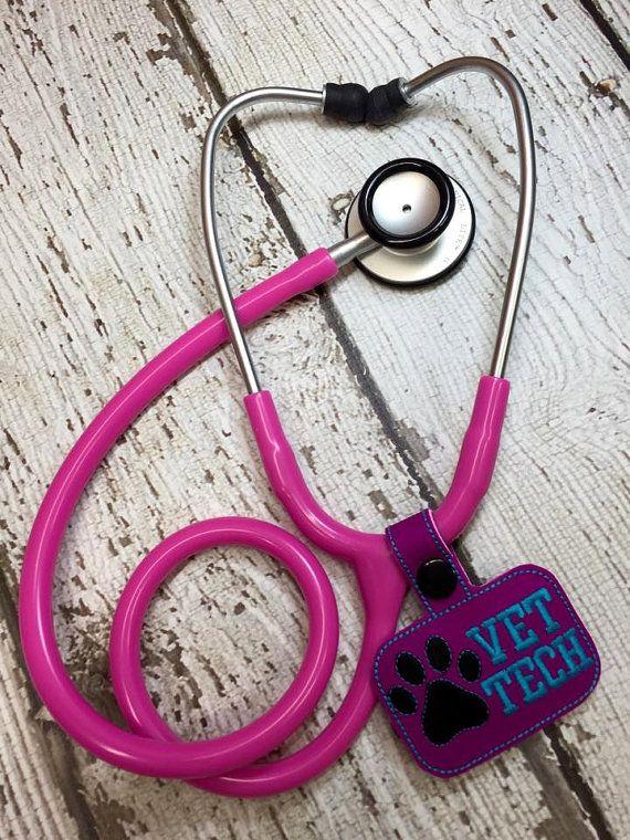 Vet Tech Paw Print Stethoscope Tab Key Fob by Nanashandmadebaby