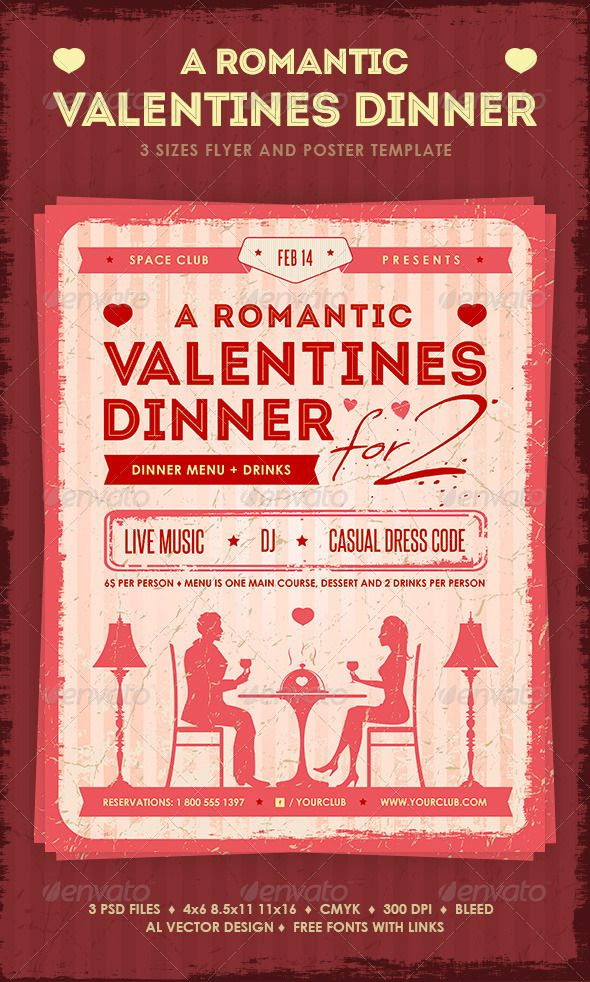 Romantic Valentines Dinner Poster and Flyer – Dinner Flyer