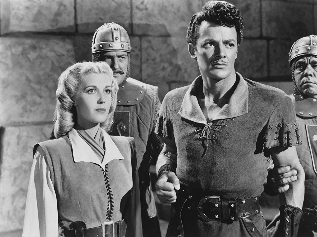 Anita Louise and Cornel Wilde in The Bandit of Sherwood Forest (1945)