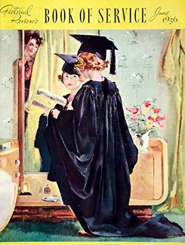1936 Print Roy Specter Vintage Illustration Child Dressing In Graduation Cap And Gown Diploma Vintage Illustration Children Kids Dress Vintage Illustration