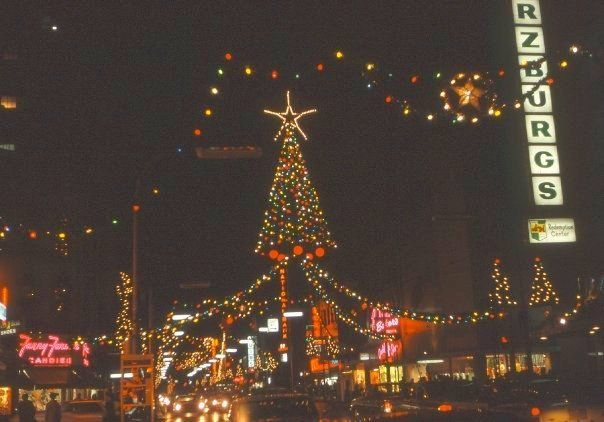 Christmas 1966, looking down what is now Monroe Center toward Division.