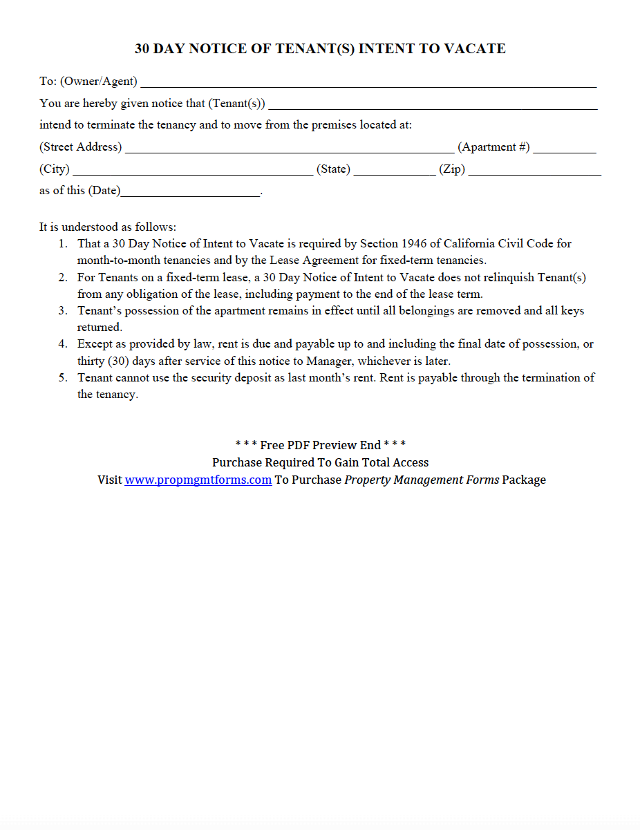 30 Day Notice Of Tenant S Intent To Vacate Pdf Rental