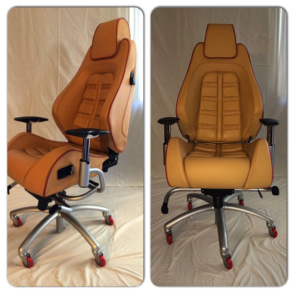Tan leather office chair - Ferrari F430 Daytona In Tan Leather With Red Piping And Stitching Over Argento Nurburgring Base