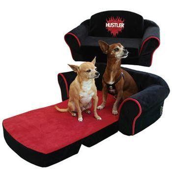Hustler Sleeper Sofa Dog Bed - Black with Red Interior